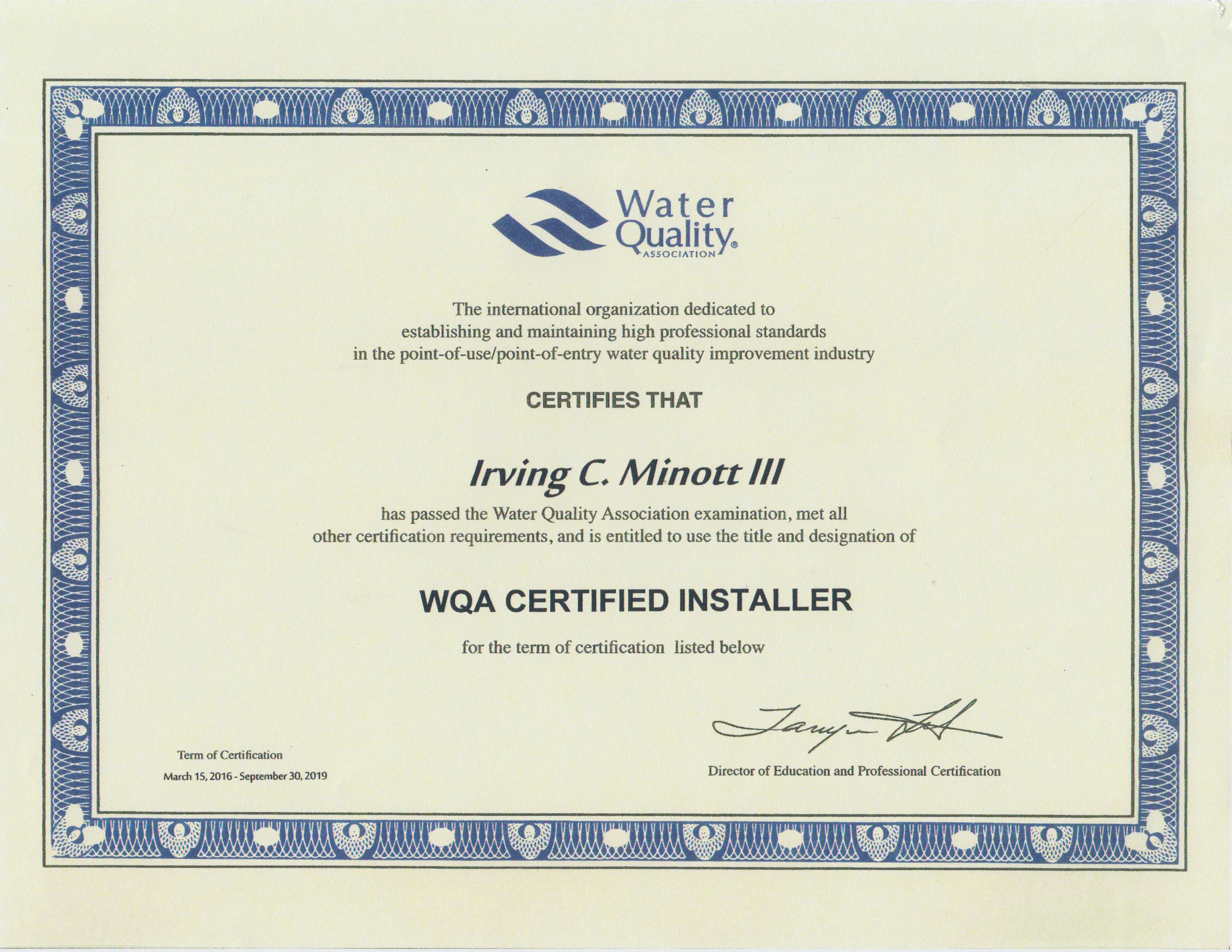 Water conditioning professionals should be certified backflow certification certified installer 1betcityfo Choice Image